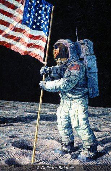 Neil Armstrong On The Moon Holding Flag - Pics about space